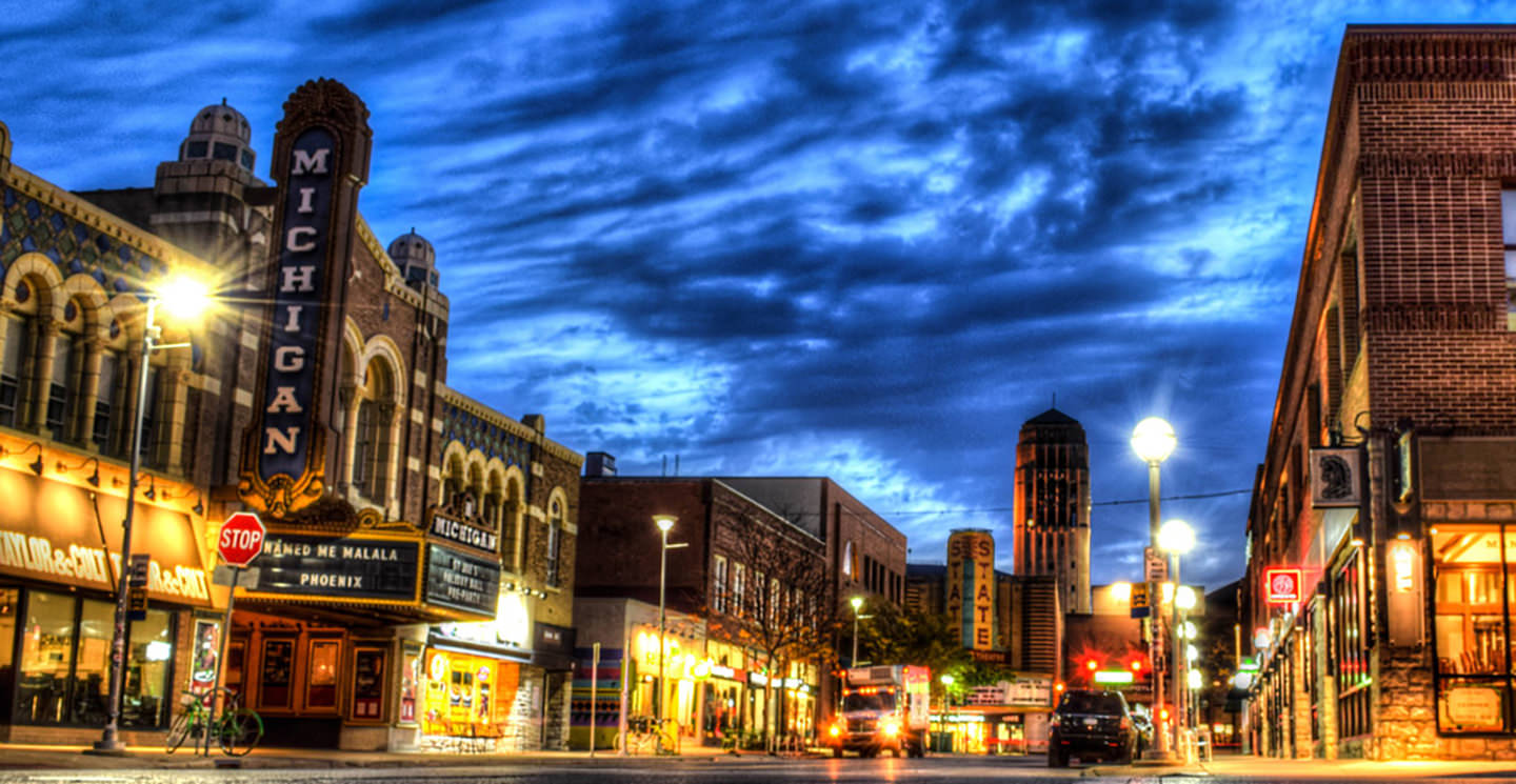 Ann Arbor Liberty Street at night