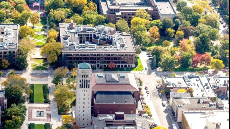 Arial view of U-M campus